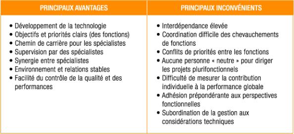 Les avantages et les inconvénients de la structure fonctionnelle
